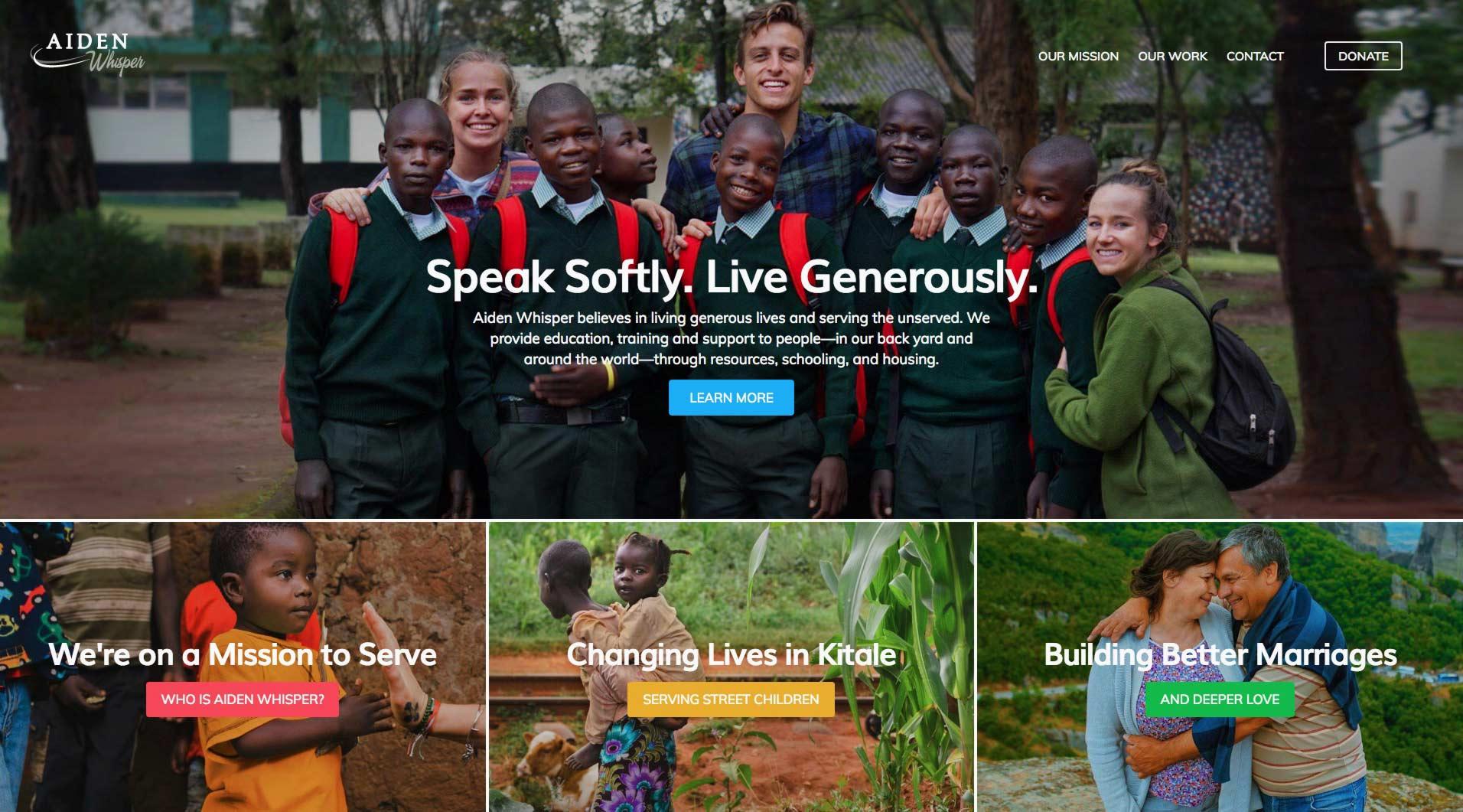 Aiden Whisper non-profit website design