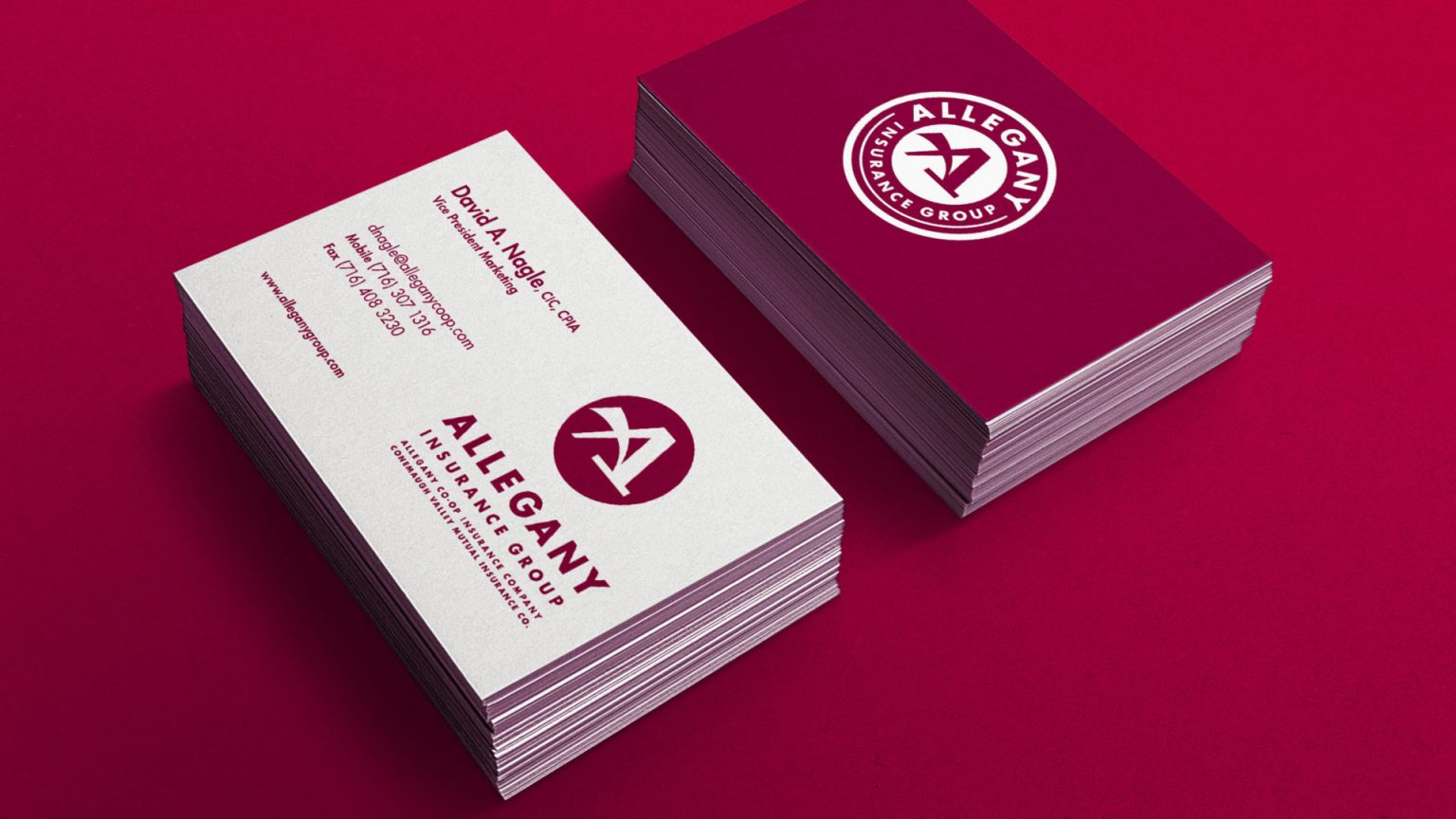 Allegany Co-op Insurance logo business card design