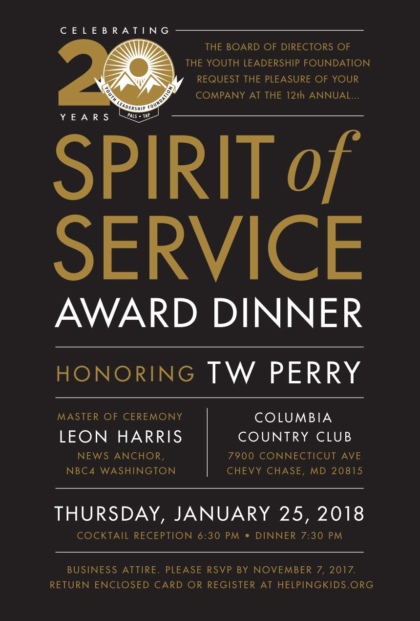 Youth Leadership Foundation Spirit of Service Awards Dinner gala logo design