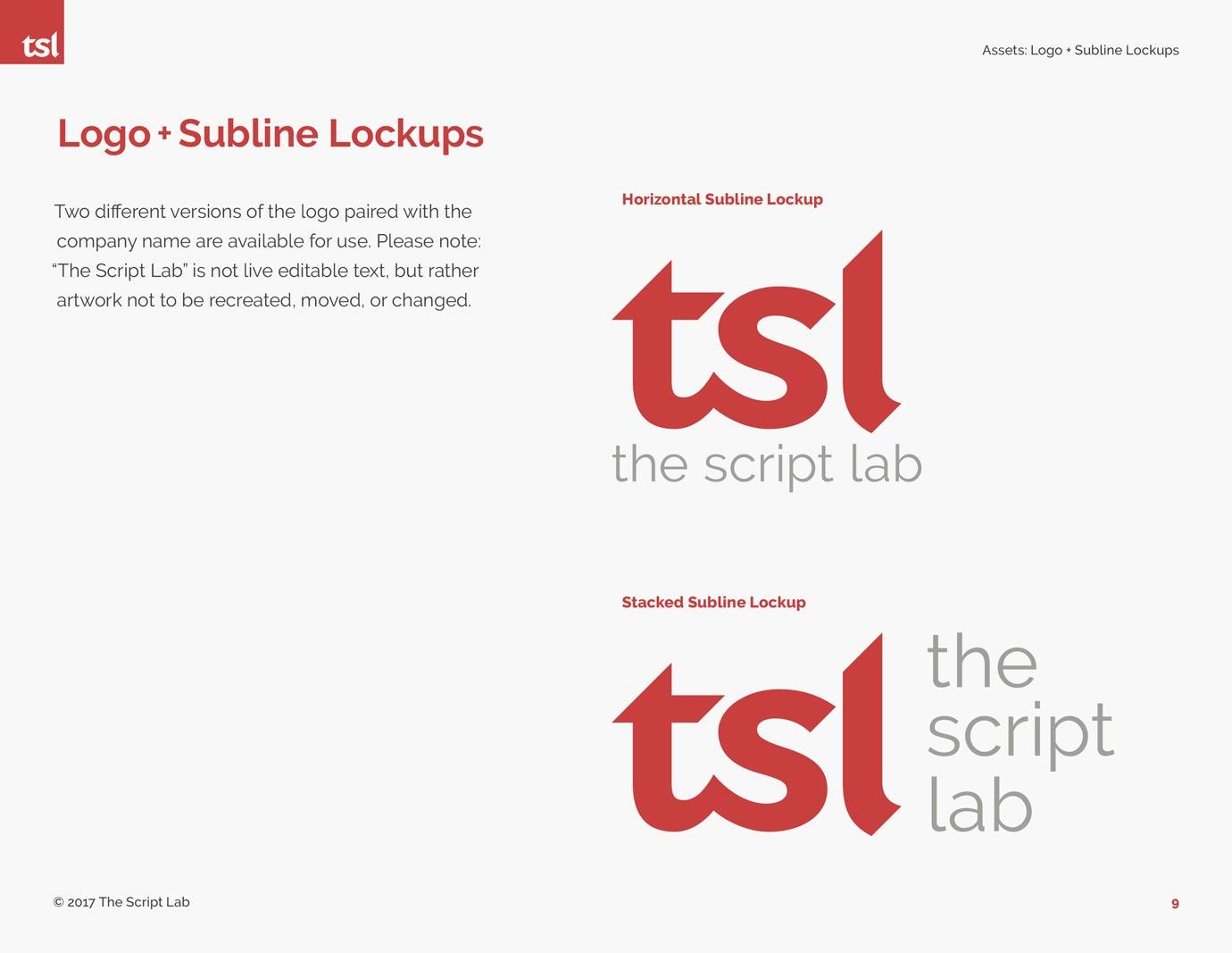 The Script Lab brand standards manual design