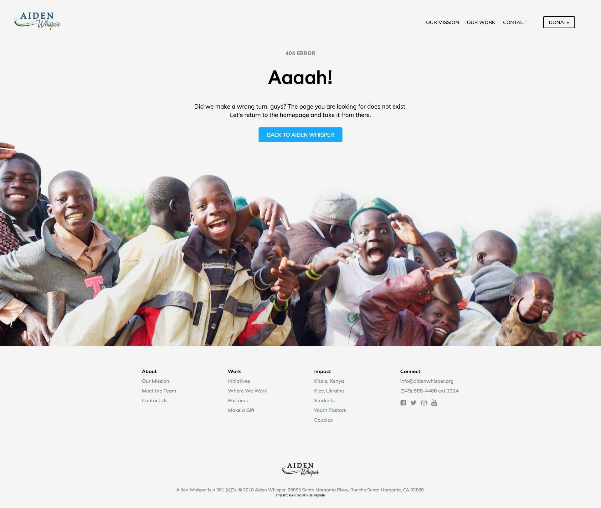 Aiden Whisper non-profit website 404 page design