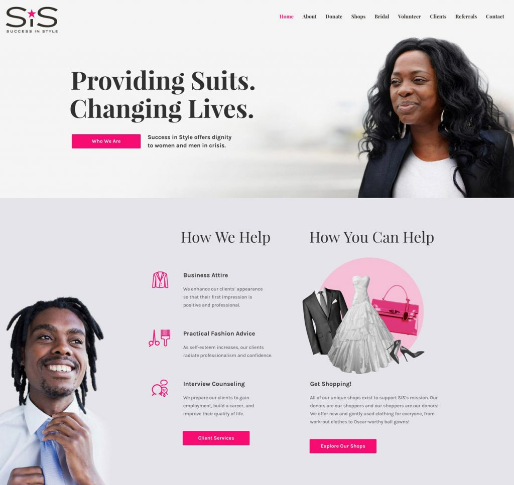 Success in Style website landing page design